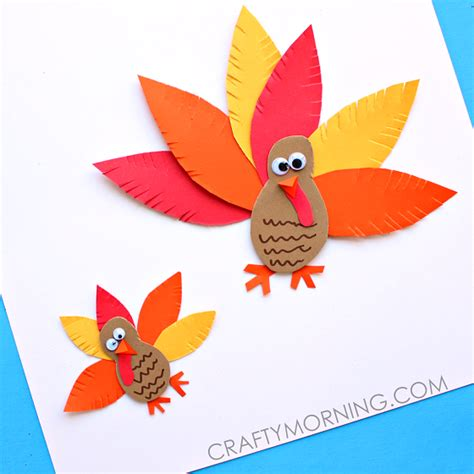 Paper Turkeys To Make - simple paper turkey craft for crafty morning