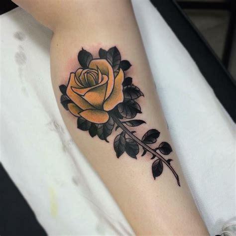 traditional yellow rose tattoo yellow by jason www doomhand