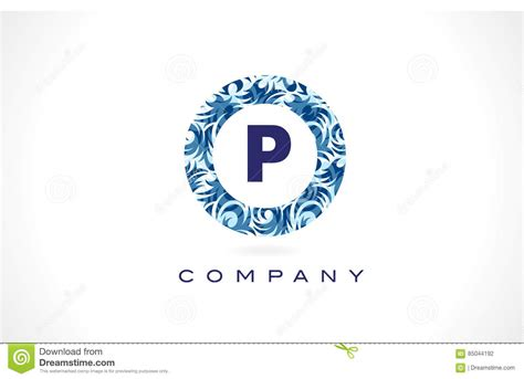 blue pattern logo letter p blue pattern logo design stock vector image