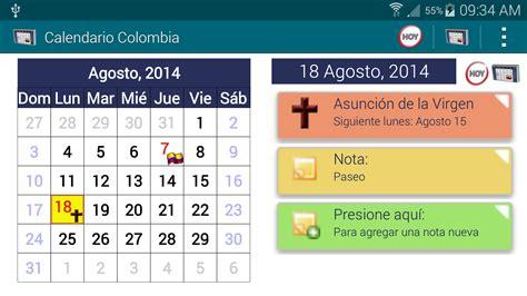 calendario festivos colombia 2017 2018 con widget