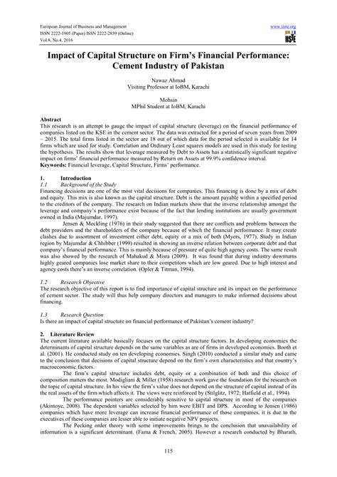 research paper on capital structure impact of capital structure on firm s financial