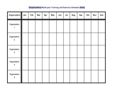 exercise schedule template 10 free sle exle
