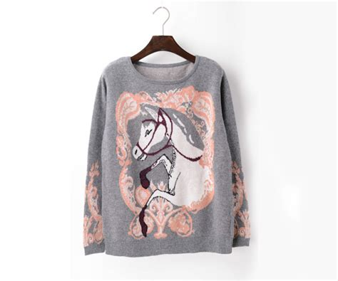 horse pattern jumper cartoon horse clothing sweater motifs knitted jumpers on