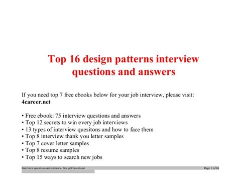 design questions top design patterns interview questions and answers job