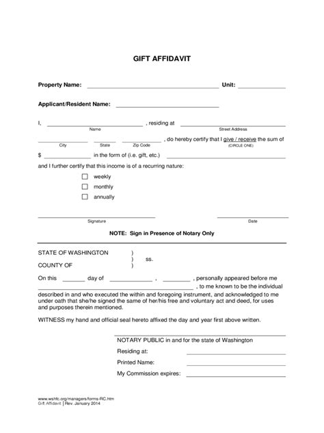 Gift Declaration Letter Affidavit Of Gift Form 7 Free Templates In Pdf Word