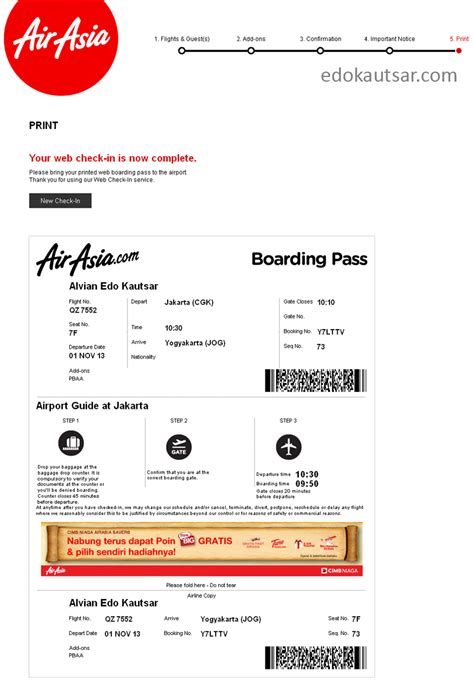 airasia hot boarding pass pengalaman web check in maskapai airasia indonesia edo