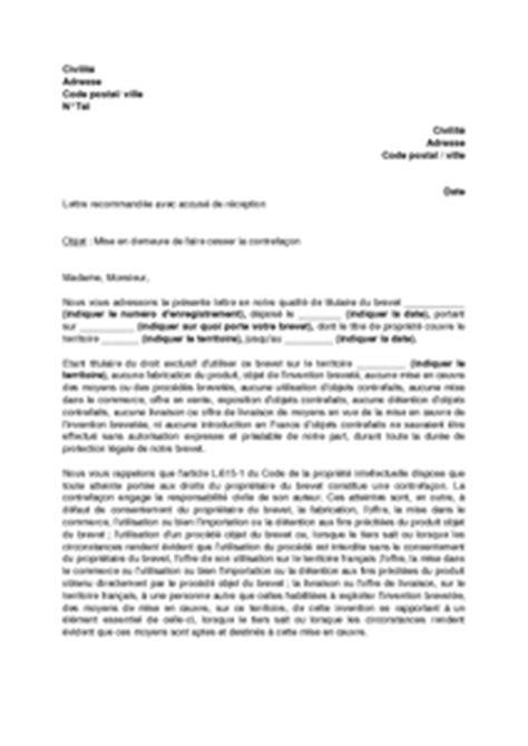 Exemple Lettre Mise En Demeure Restitution Caution Exemple Gratuit De Lettre Mise En Demeure Faire Cesser Contrefa 231 On Un Brevet
