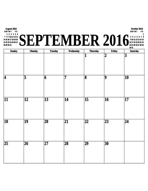 Calendar 2016 September September 2016 Calendar Free