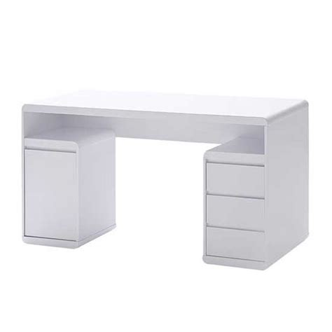 High Gloss Computer Desk White Daniele Computer Desk In White High Gloss With Storage Ebay