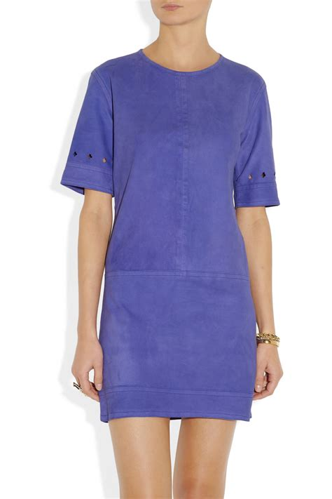 light blue suede dress lyst beckham suede dress in blue