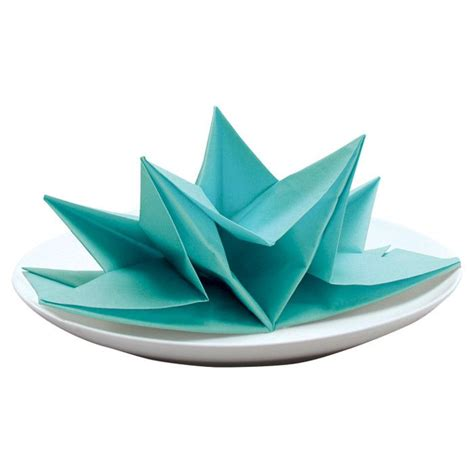 Origami Napkin - origami napkin in aqua craft ideas