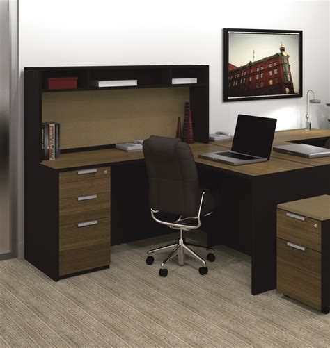 Black Wood Corner Computer Desk L Shaped Espresso Bull Nose Corner Desk With Gray Solid Wood Panel Combination With Gray