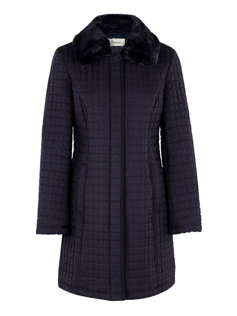 Navy Quilted Coats by Precis Navy Quilted Coat In Blue Navy Lyst