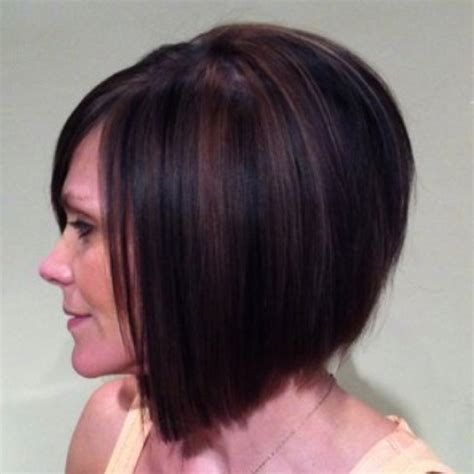bob hair with high lights and lowlights slightly inverted bob with copper and black highlights