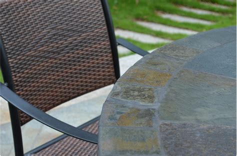 slate top patio table 63 slate outdoor patio dining table oceane