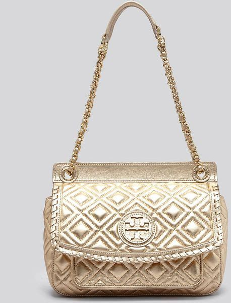 Burch Quilted Small Shoulder Bag Original burch shoulder bag small marion quilted metallic in