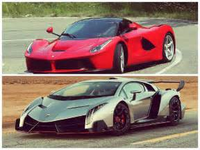 Lamborghinis And Ferraris 2015 Lamborghini Veneno Vs Laferrari Vc