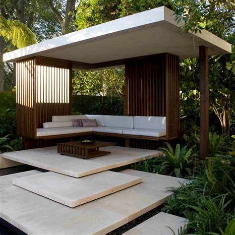 moderner gartenpavillon steps which lead to this modern gazebo set within