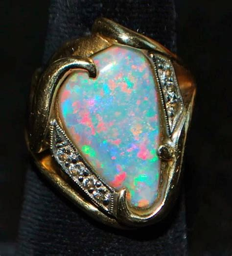 2048 The Black Opal 14k large custom black opal and cocktail ring