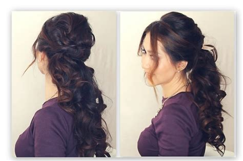 curling hair tutorial for med hair holiday half up hairstyle tutorial fancy curly ponytail