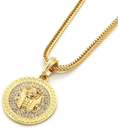 mens medallion pharaoh gold clear 24 quot franco chain pendant