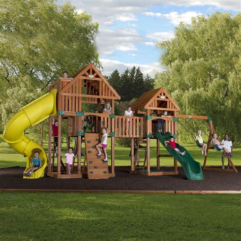 backyard playsets leisure time products backyard odyssey reno cedar playset