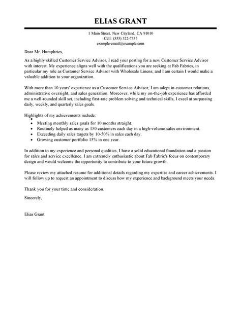 Communications Advisor Cover Letter by Best Sales Customer Service Advisor Cover Letter Exles Livecareer