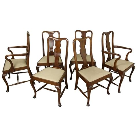 queen anne dining room furniture set of six antique oak queen anne style dining chairs for