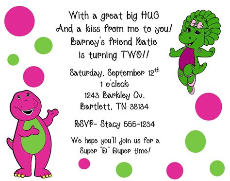10 barney amp baby bop invitations with envelopes by