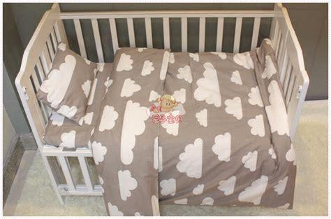 3pcs Cotton Crib Pink Black White Gray Bedding Set Duvet Black And Pink Crib Bedding Sets