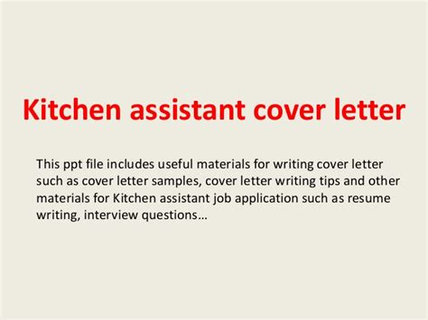 Cover Letter Sle Kitchen Assistant Kitchen Assistant Cover Letter