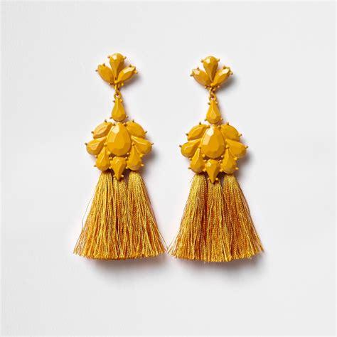 Tassel Drop Earrings mustard yellow tassel drop earrings earrings