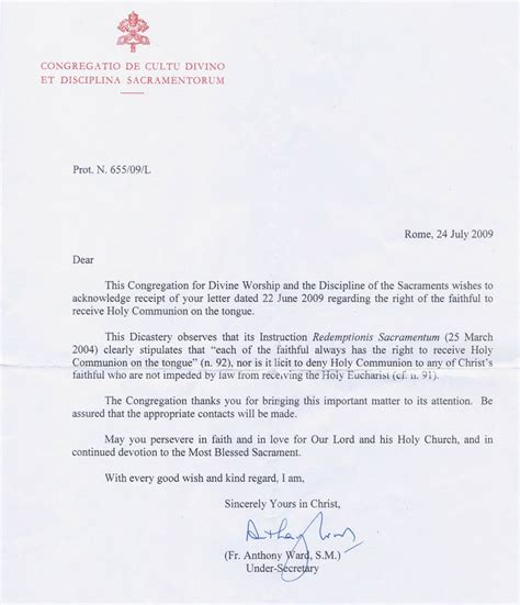 Confirmation Letter To Child Rorate C 198 Li It Is Not Licit To Deny Communion On The Tongue Due To H1n1
