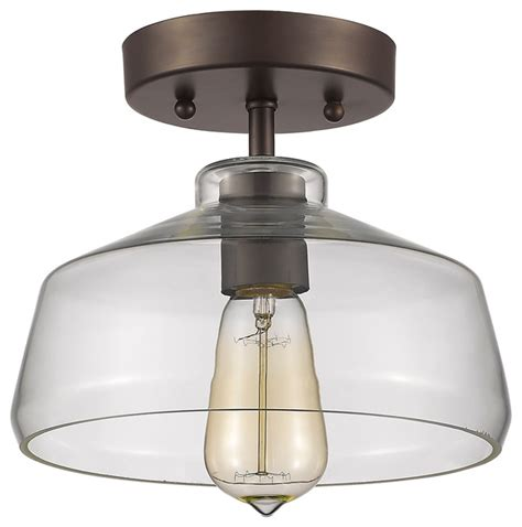 semi flush ceiling light fixture ironclad 1 light semi flush ceiling fixture rubbed bronze