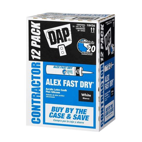 fast drying bathroom caulk dap alex fast dry 10 1 oz acrylic latex plus silicone caulk 12 pack 18426 the