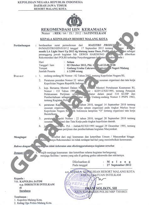contoh surat izin acara kus wisata dan info sumbar