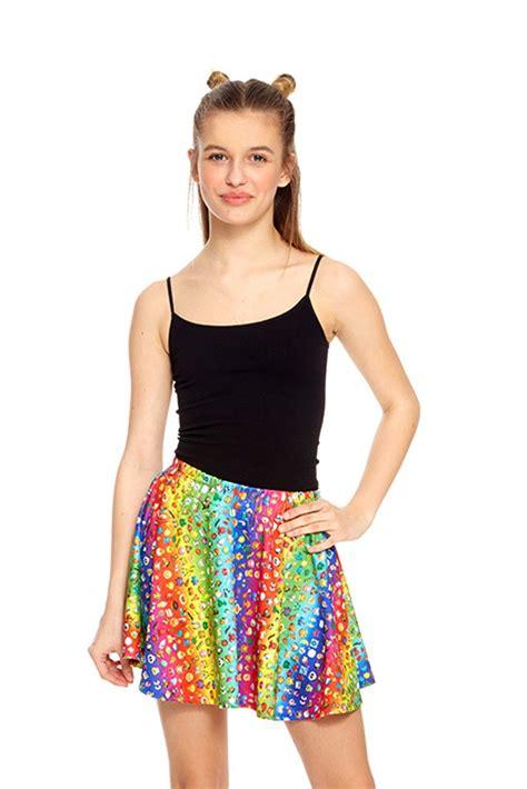 Zara Rainbow zara terez emoji rainbow skater skirt