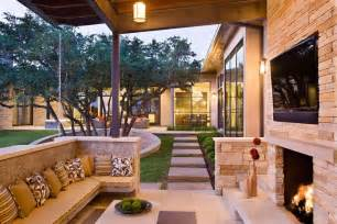 family home with outdoor living room and pool modern