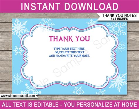 Printable Frozen Party Thank You Cards Frozen Birthday Party Theme Reception Thank You Card Template