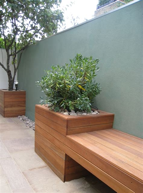 planter with bench benches and seats london garden blog