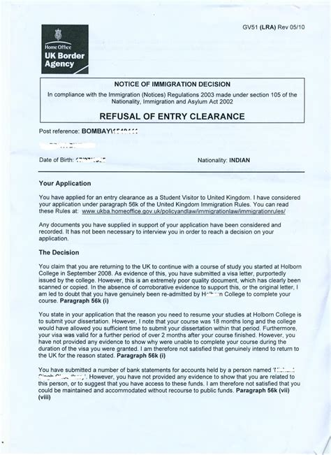 Appeal Letter Sle Of Visa Refusal Uk Visas Visa Refusals