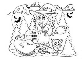 halloween witch cat coloring kids printable free halloween kids