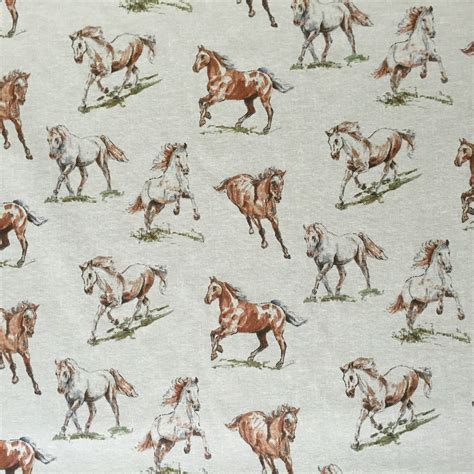 wildlife upholstery fabric vintage linen look country side animals digital print