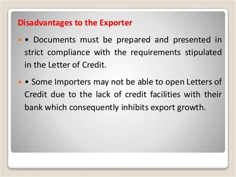 Letter Of Credit Disadvantages Documentary Credit Or Letter Of Credit