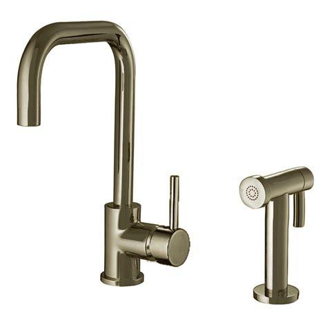 brushed nickel single handle kitchen faucet whitehaus collection jem collection single handle side