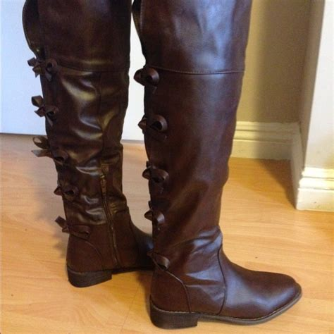 93 shoes brand new bow back brown knee high boots