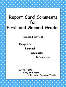 report card comments sles report card comments for and second grade second