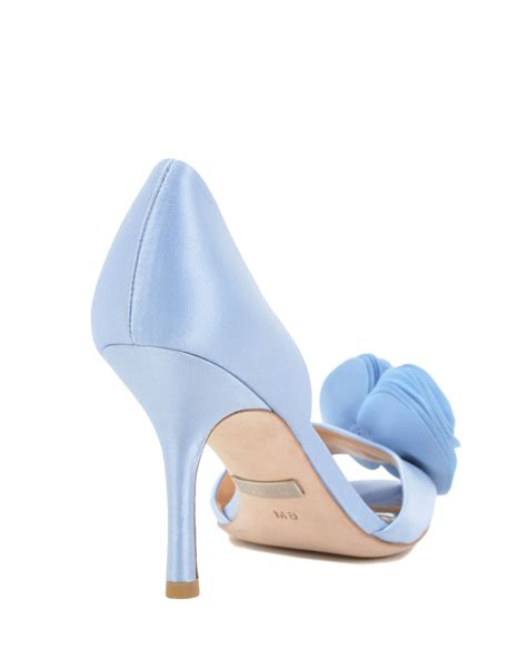 light blue evening shoes badgley mischka thora silk ruffle evening pump in blue lyst