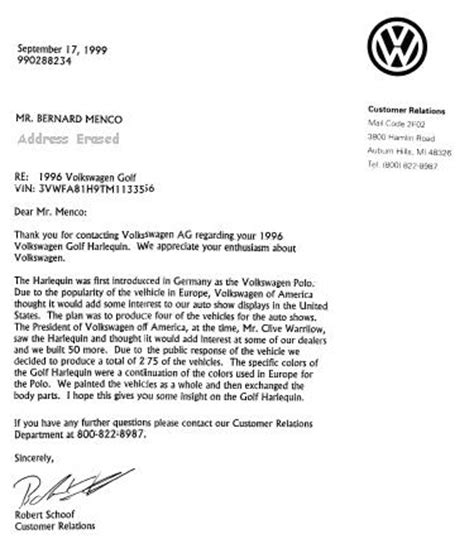 Volkswagen Customer Letter How Many Of These Are There