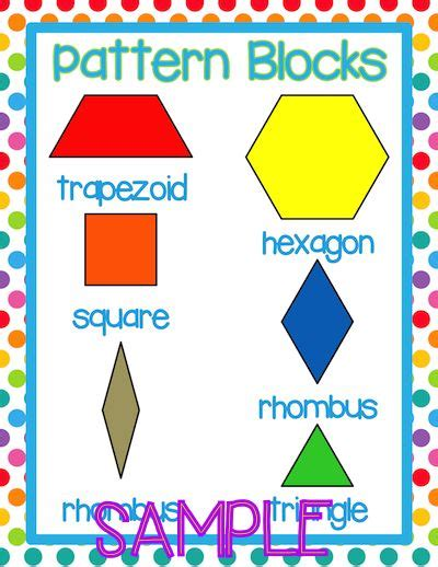 Name The Pattern Unit For Each | pattern blocks vocabulary and geometry on pinterest